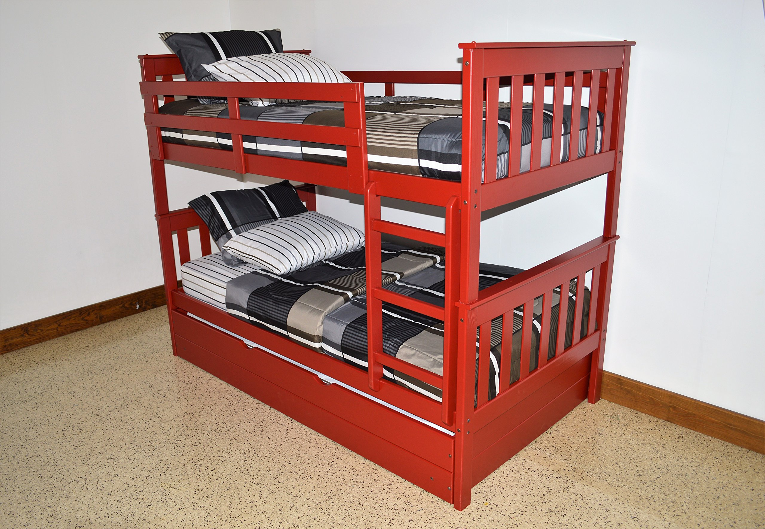 BEST KIDS BUNK BEDS WITH TWO UNDER BED STORAGE DRAWERS, Twin Over Twin Mission Bunkbeds, Space Saving Organizing Rolling Bins, Hold Games Clothes Toys, Sturdy & Durable, Classic Red