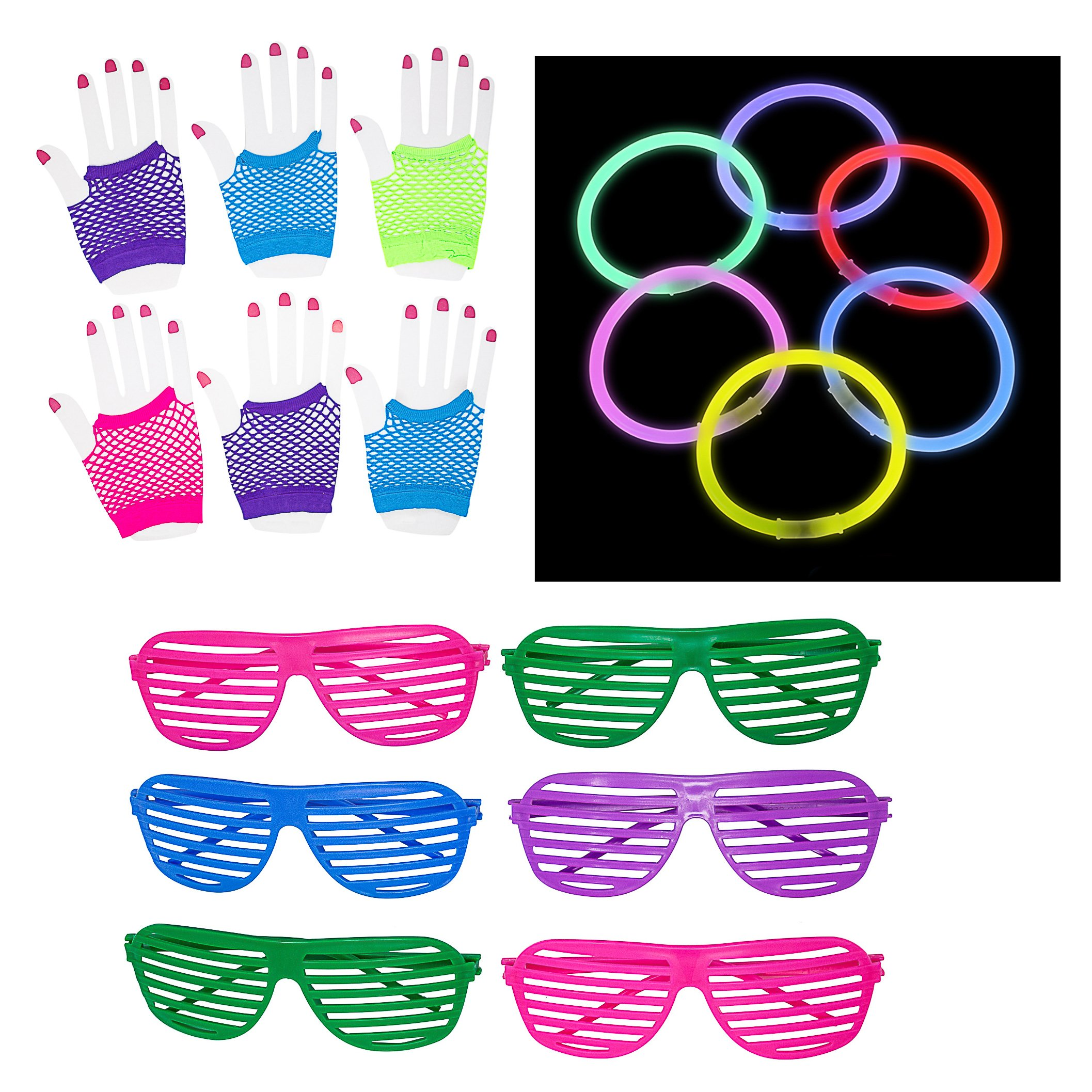 80s Party Supplies and Costume Accessories - 124 Piece Party Favor Pack Featuring (12) Neon Shutter Glasses, (12 Pairs) Fishnet Fingerless Gloves, (100) Neon Glow Bracelets