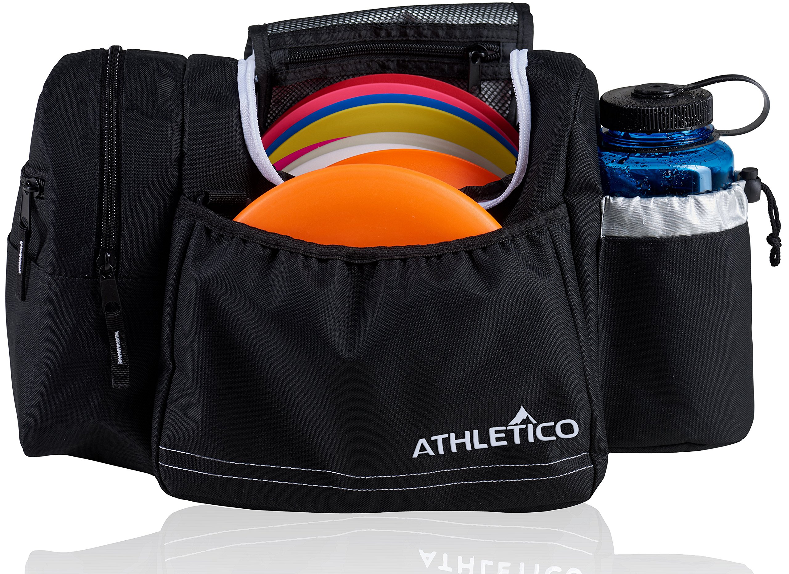 Athletico Disc Golf Bag - Tote Bag for Frisbee Golf - Holds 10-14 Discs, Water Bottle, and Accessories (Black) by Athletico