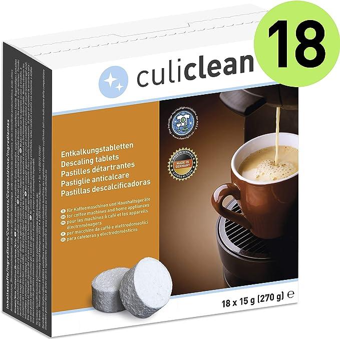 18 Pastillas Descalcificadoras culiclean, para cafeteras y electrodomésticos: Amazon.es: Hogar