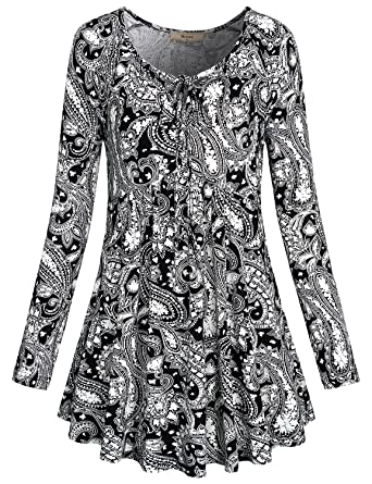 c505a530631 Miusey Women s Tie Neck Long Sleeve Floral Printed Flared Hem Tunic ...