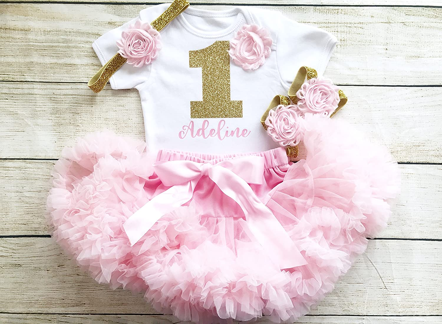 Personalised Pink & Gold First Birthday Tutu Outfit, Glitter Number, Matching Headband Barefoot Sandals Baby Girl, 1st Cake Smash