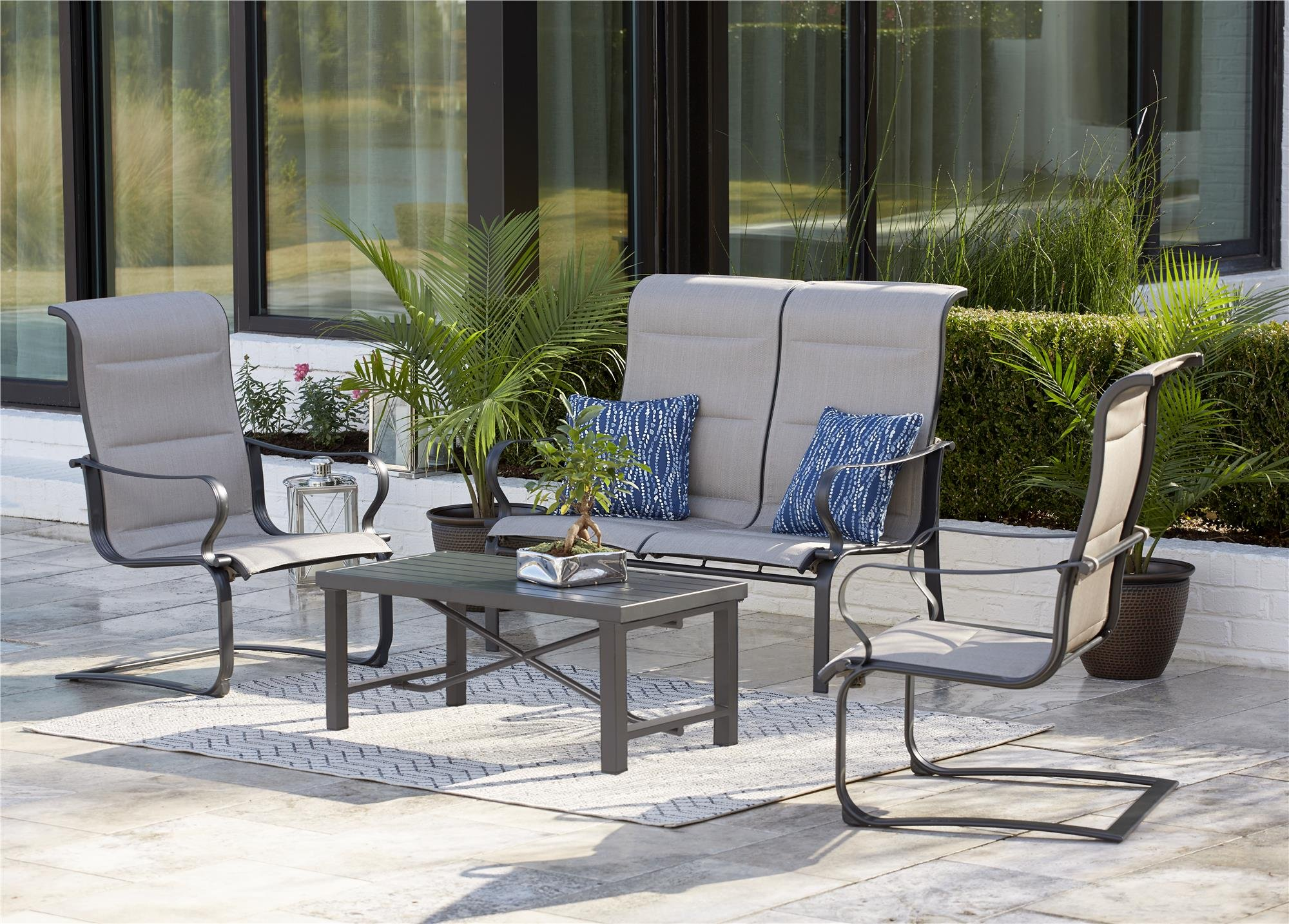 "Cosco Outdoor Patio Chairs, SmartConnect, 2 Pack, Gray Beige - Cosco's SmartConnect outdoor furniture collection features easy, tool-free assembly, from carton to comfort in minutes! Stylish outdoor furniture set has a durable, weather resistant outdoor powder coated steel frame, chairs and loveseat have easy to clean all weather slings Dimensions are: Outdoor lounge chair 29.92"" L x 26.57"" D x 40.94"" H per chair, Loveseat 49.41"" L x 29.92"" D x 40.94"" H, Coffee table 39.96"" L x 19.69"" D x 15.75"" H - patio-furniture, patio-chairs, patio - 91Xpy4ug8PL -"