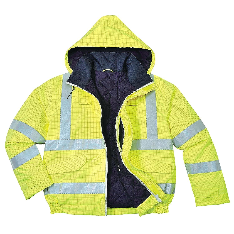 Portwest S773ORRS Bizflame Rain Hi-Vis Antistatic FR Bomber Jacket Size: Small Regular Orange
