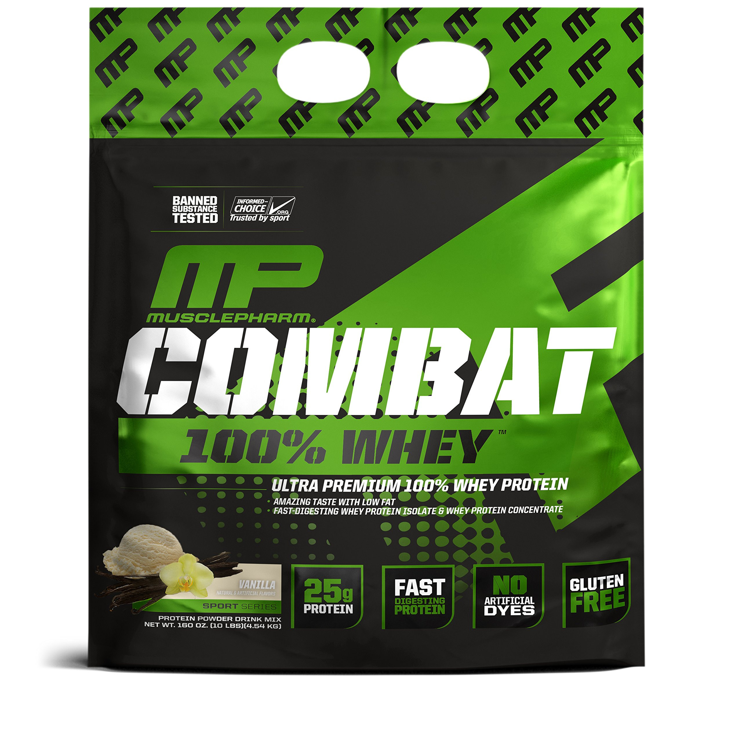 MusclePharm Combat 100% Whey, Muscle-Building Whey Protein Powder, 25 g of Ultra-Premium, Gluten-Free, Low-Fat Blend of Fast-Digesting Whey Protein, Vanilla, 10-Pound, 146 Servings