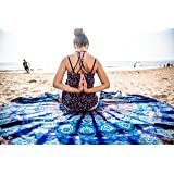 Oceanic Aura Mandala Round Tapestry Hippie Indian Mandala Beach Roundie Picnic Table Throw Hippy Bohemian Spread Boho Gypsy Cotton Tablecloth Beach Towel Meditation Round Yoga Mat - 72 Inches, Blue