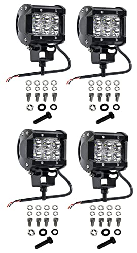 Cutequeen 4 X 18w 1800 Lumens Cree LED Spot Light for Off-road SUV Boat 4x4 Jeep Lamp Tractor Marine Off-road Lighting Rv Atv(pack of 4)