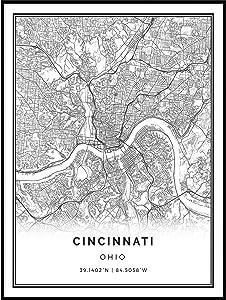 Squareious Cincinnati map Poster Print | Modern Black and White Wall Art | Scandinavian Home Decor | Ohio City Prints Artwork | Fine Art Posters 9x11