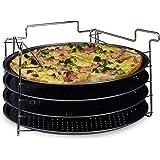 Relaxdays Plaques de cuisson pizza lot de 4 avec support HxlxP : 20 x 32 x 32 cm avec perforation revêtement antiadhésif, anthracite