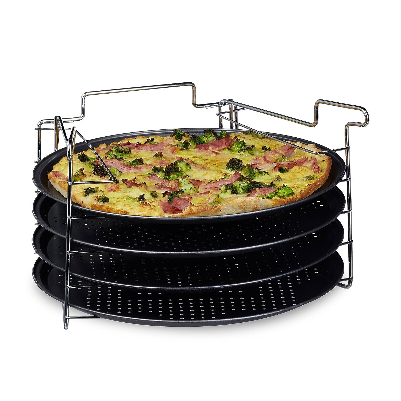 Relaxdays Pizzablech im 4er Set HBT: 20 x 32 x 32 cm Pizzabäcker-Set mit 4 Backblechen und Ständer als Pizza-Backblech und Flammkuchen Blech rundes Pizzabackblech mit Antihaftbeschichtung, anthrazit 10020495