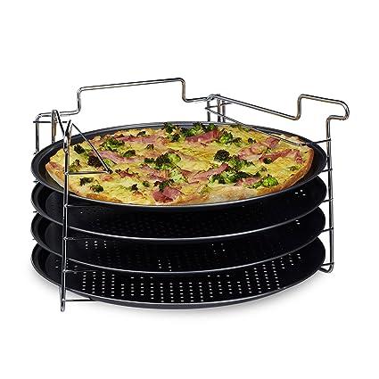 Relaxdays 10020495 - Juego de bandejas para Pizza, práctico Juego con 4 Unidades, Forma