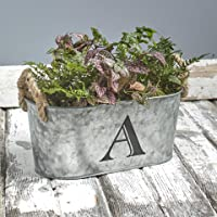 The Lakeside Collection Galvanized Metal Monogram Bucket - Rustic Storage Bin with Rope Handles - A