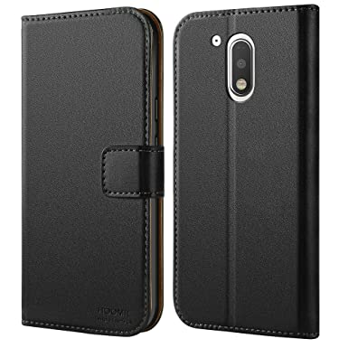 low priced d1ae0 80af2 HOOMIL Moto G4 Case Premium Leather Case for Motorola Moto G4 / G4 Plus  Phone Cover (Black)