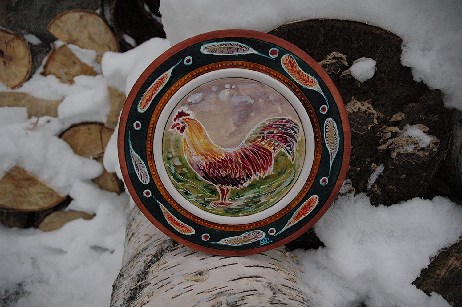 Rooster Painting Cock Chinese New Year 2017 Fire Cock. Hand Painted with Fire Rooster Wood Plate 2017 Year of the Fire Rooster Wooden Plate