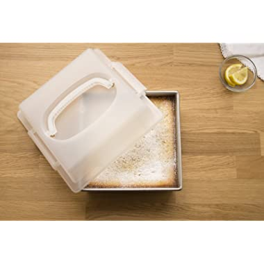 USA Pan 1130BWLD-ST Bakeware Nonstick Square Cake Pan with Lid, 9-Inch