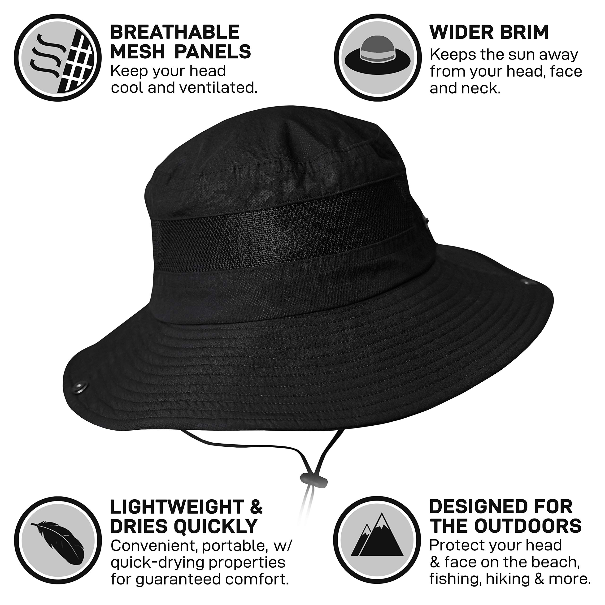 GearTOP Sun Hat for Men | Camo Hunting Hat and Safari Cap (Black Camouflage Design) by GearTOP (Image #4)