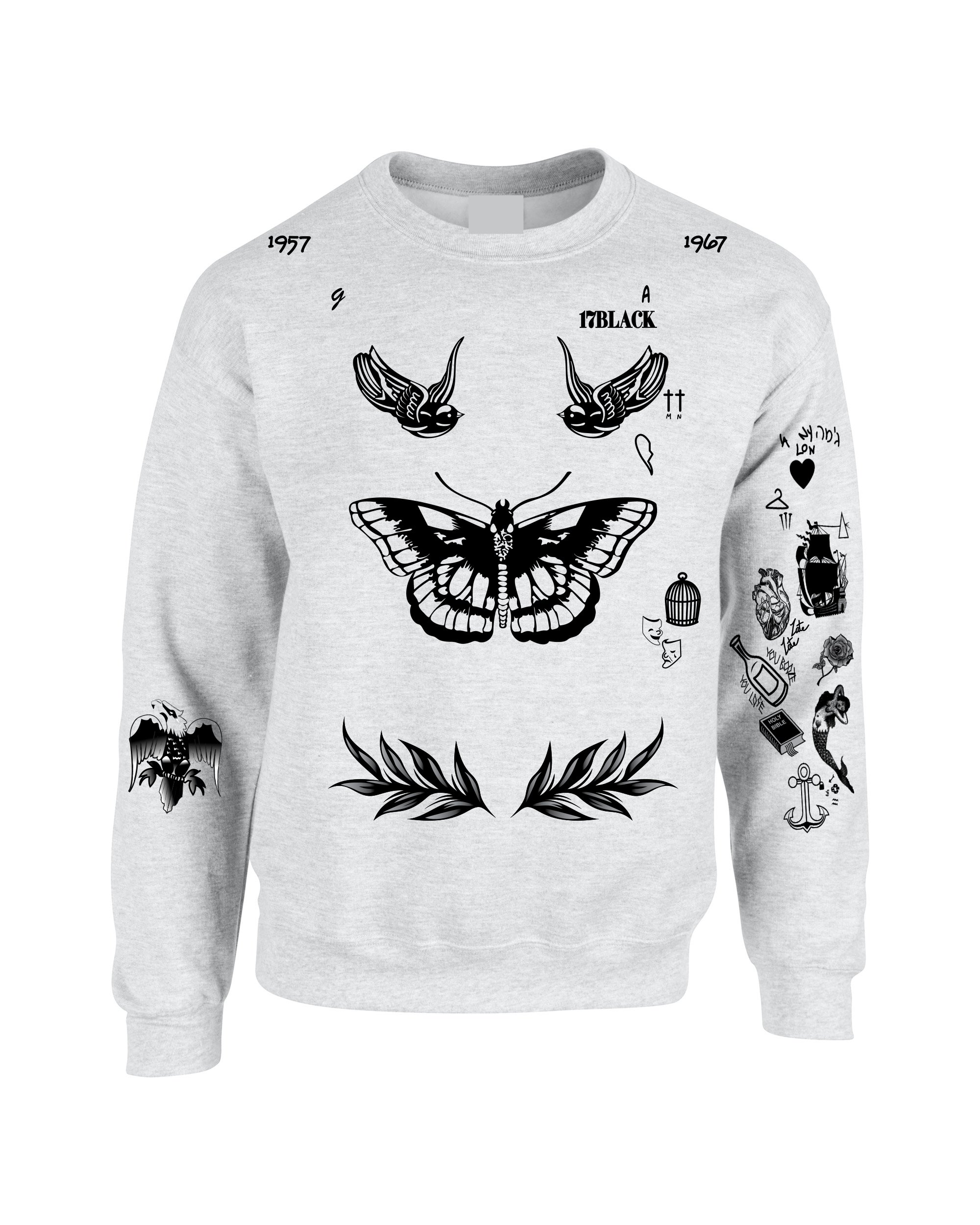 Allntrends Adult Sweatshirt Harry Tattoos 94 Cool Top Trendy Cute Gift (L, Ash)