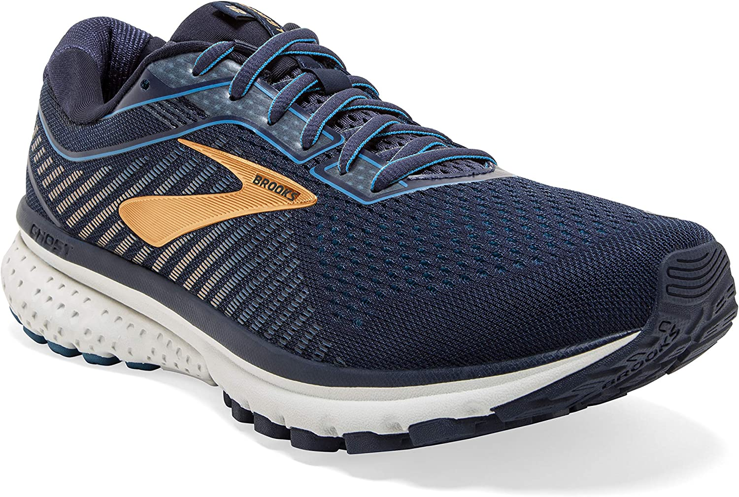 Brooks Mens Ghost 12 Running Shoe – Navy Deep Water Gold – 2E – 10.0