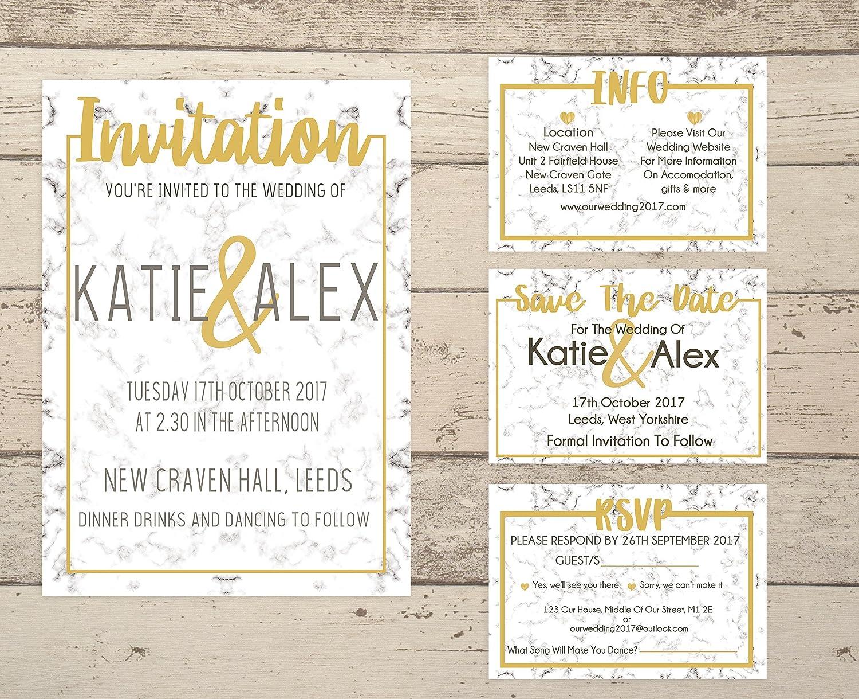 Wedding Invitations. Personalised Wedding Invitations. Gold Wedding ...