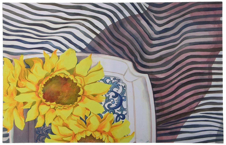 Kess InHouse S. Seema Z Final Sunflower  Yellow Flower Feeding Mat for Pet Bowl, 24 by 15-Inch