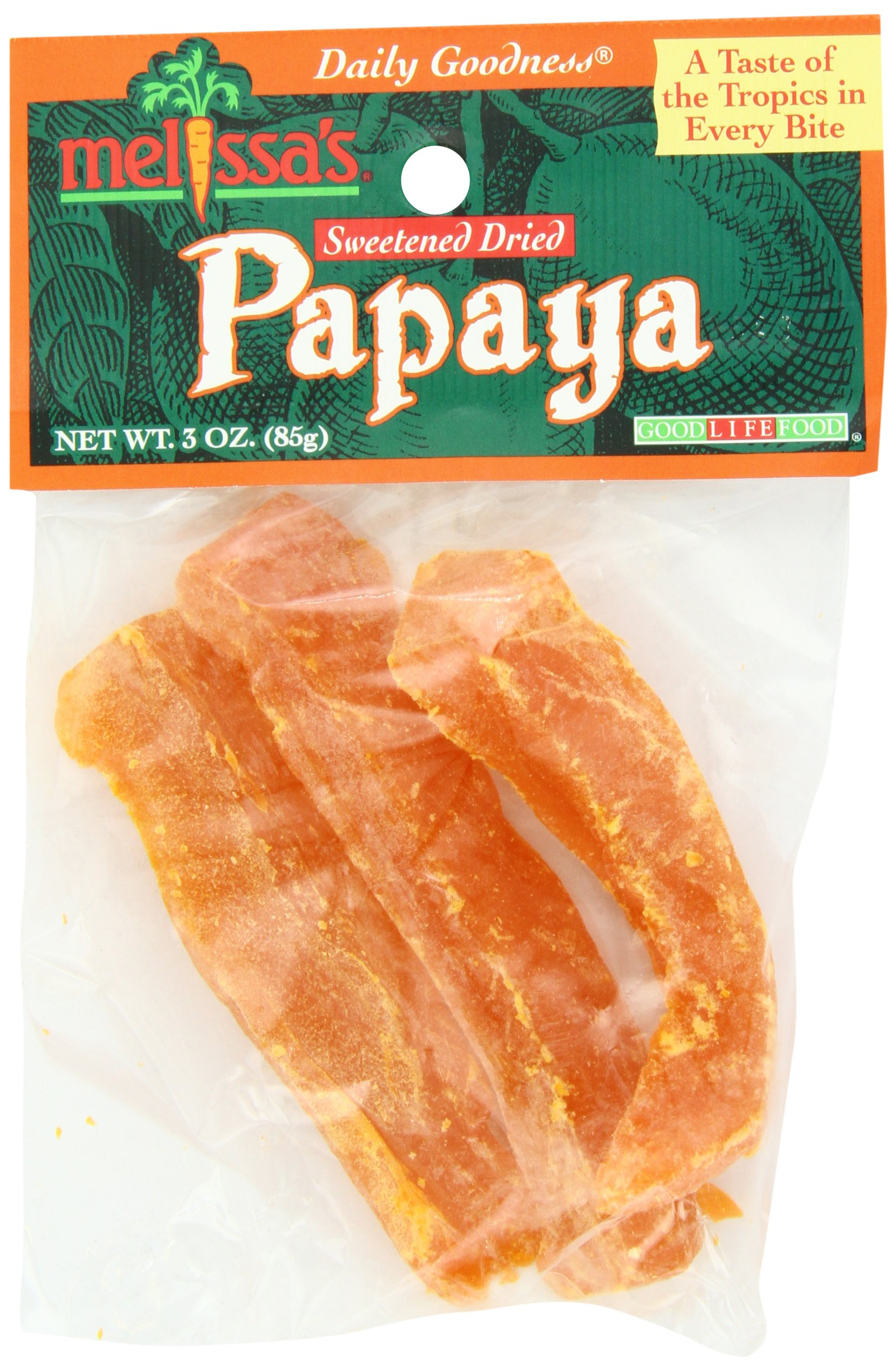 Melissa's Dried Papaya Spears, 3-Ounce Bags (Pack of 12)