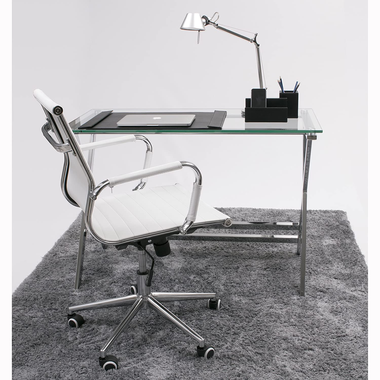 Pequeña mesa de escritorio con patas de metal en forma de X y cristal templado.