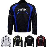 HWK Chamarra de motociclista, tela impermeable de alta visibilidad, protección CE, para hombre, Azul, XX-Large