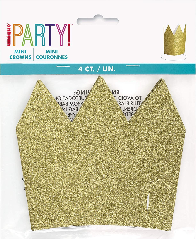 Mini Glitter Paper Crowns I Gold I 4 Pcs.