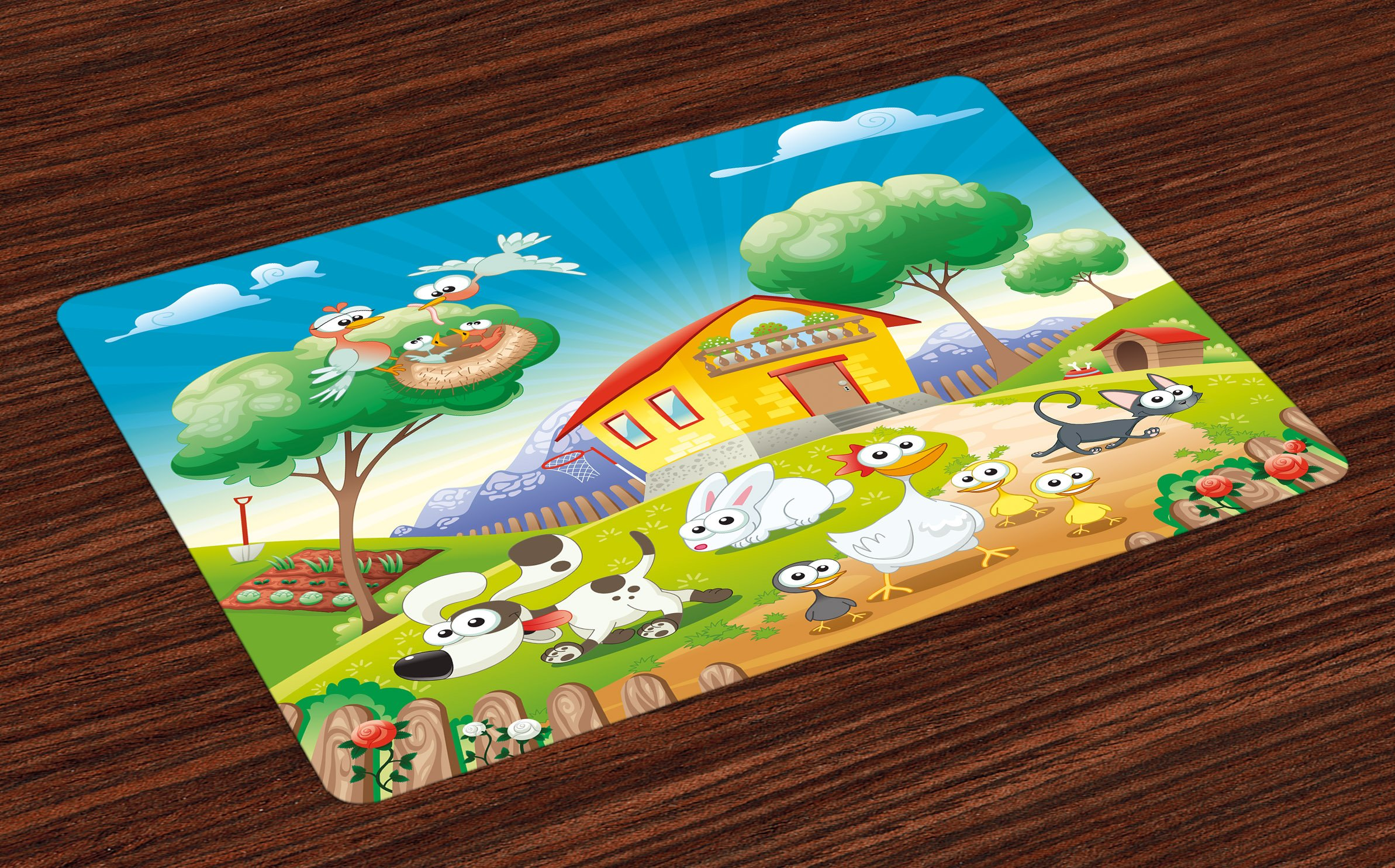 Lunarable Animal Place Mats Set of 4, Cute Farm House Scenery with Full of Chicken Rabbit Dogs Cat Funny Cartoon Kids Art, Washable Fabric Placemats for Dining Room Kitchen Table Decor, Multicolor