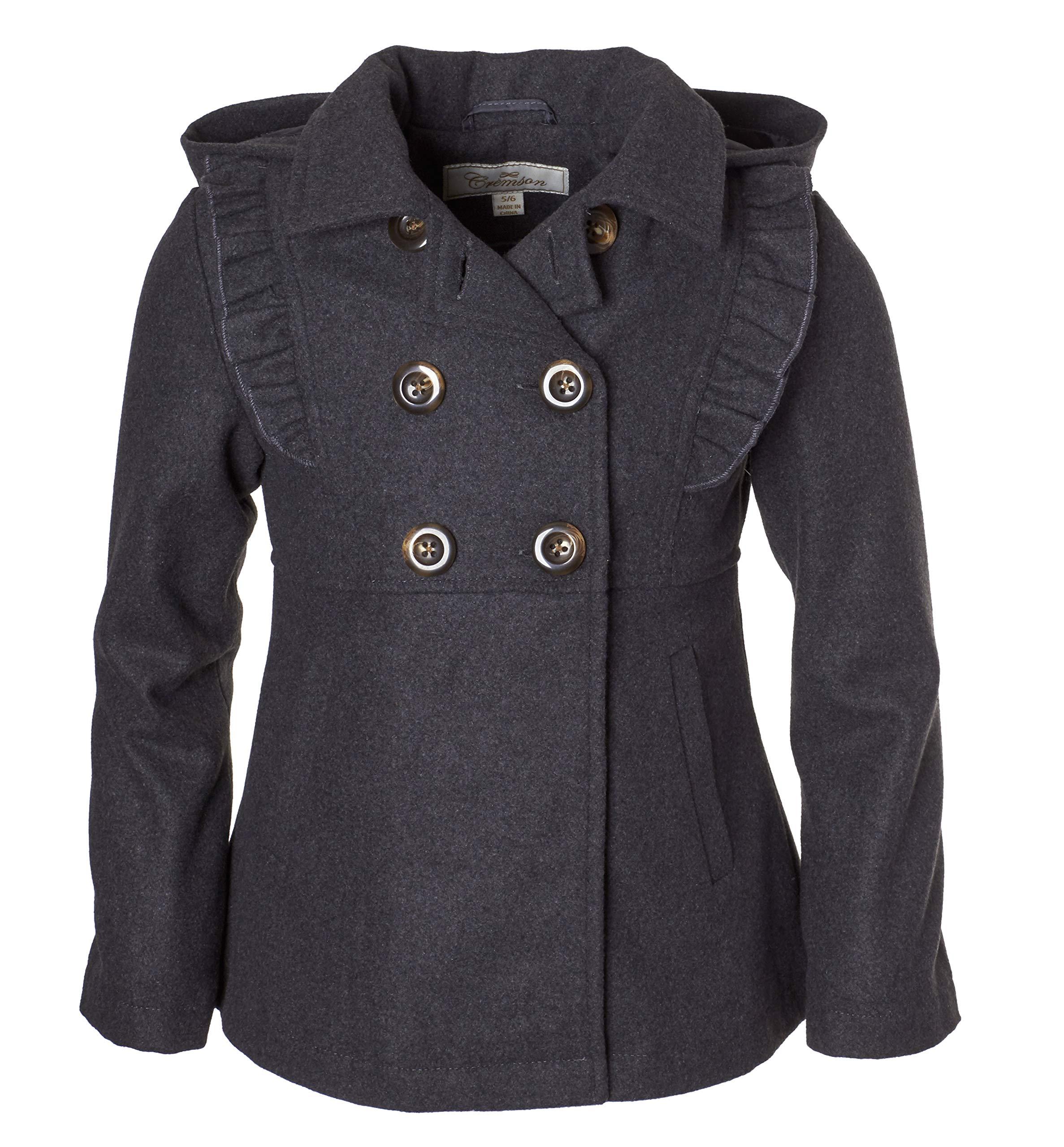 Cremson Girls' Wool Blend Hooded Ruffle Winter Dress Pea Coat Jacket - Charcoal (Size 5/6)