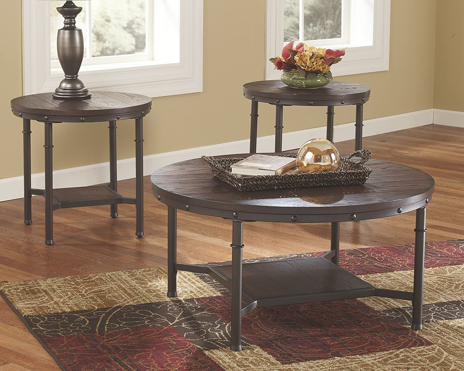 Amazon ashley furniture signature design sandling amazon ashley furniture signature design sandling occasional table set end tables and coffee table 3 piece round rustic brown kitchen geotapseo Gallery