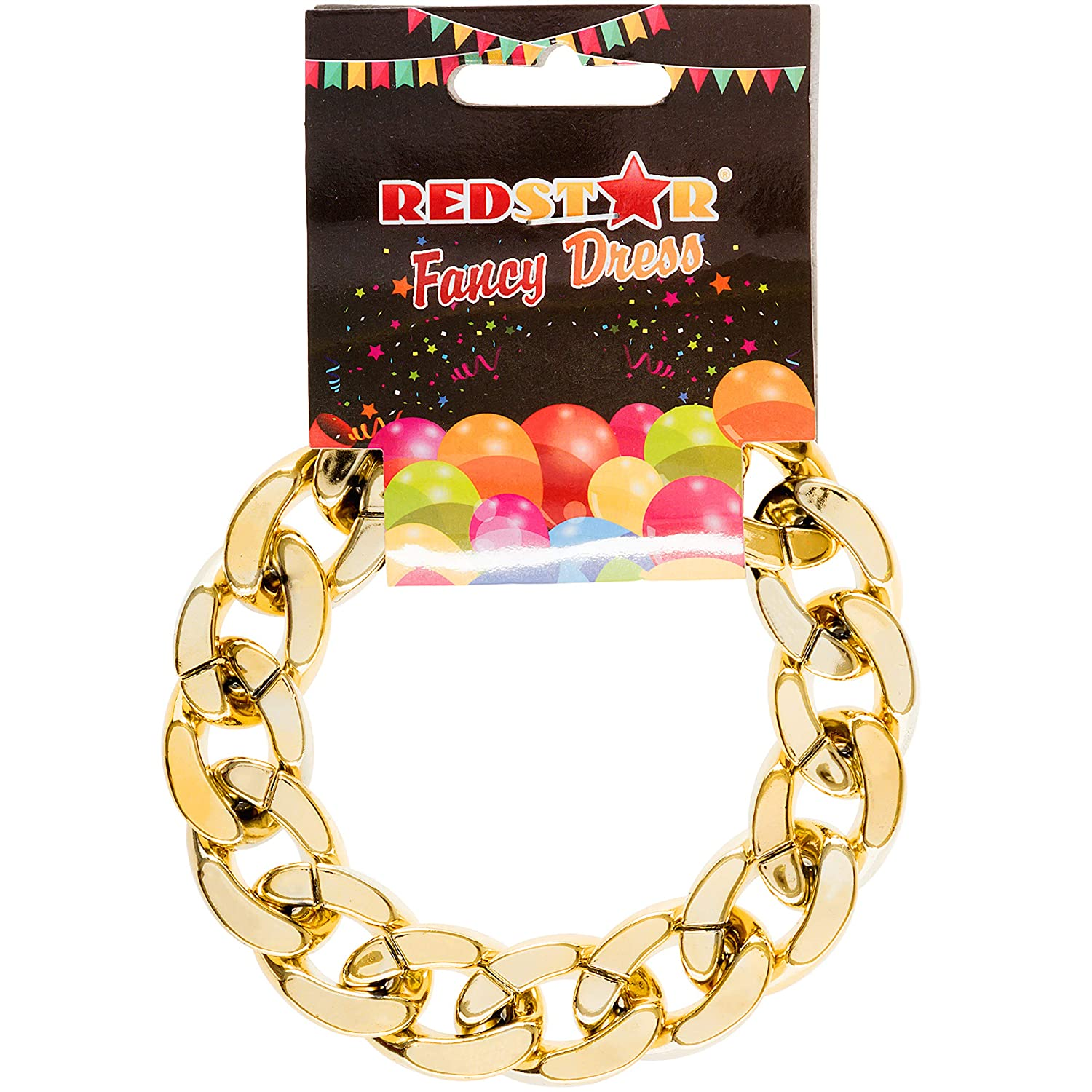 REDSTAR FANCY DRESS Oro Cadena Pulsera Gángster Chav Collar Hip ...