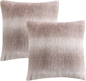 Morgan Home Fashions 2-Pack Faux Fur Luxury Pillow Shell 3 Colors Available- Soft, Cozy, Comfy 2 Cushion Covers (Insert not Included) Perfect for Any Home Style, Farmhouse, Modern (Taupe Stripe)