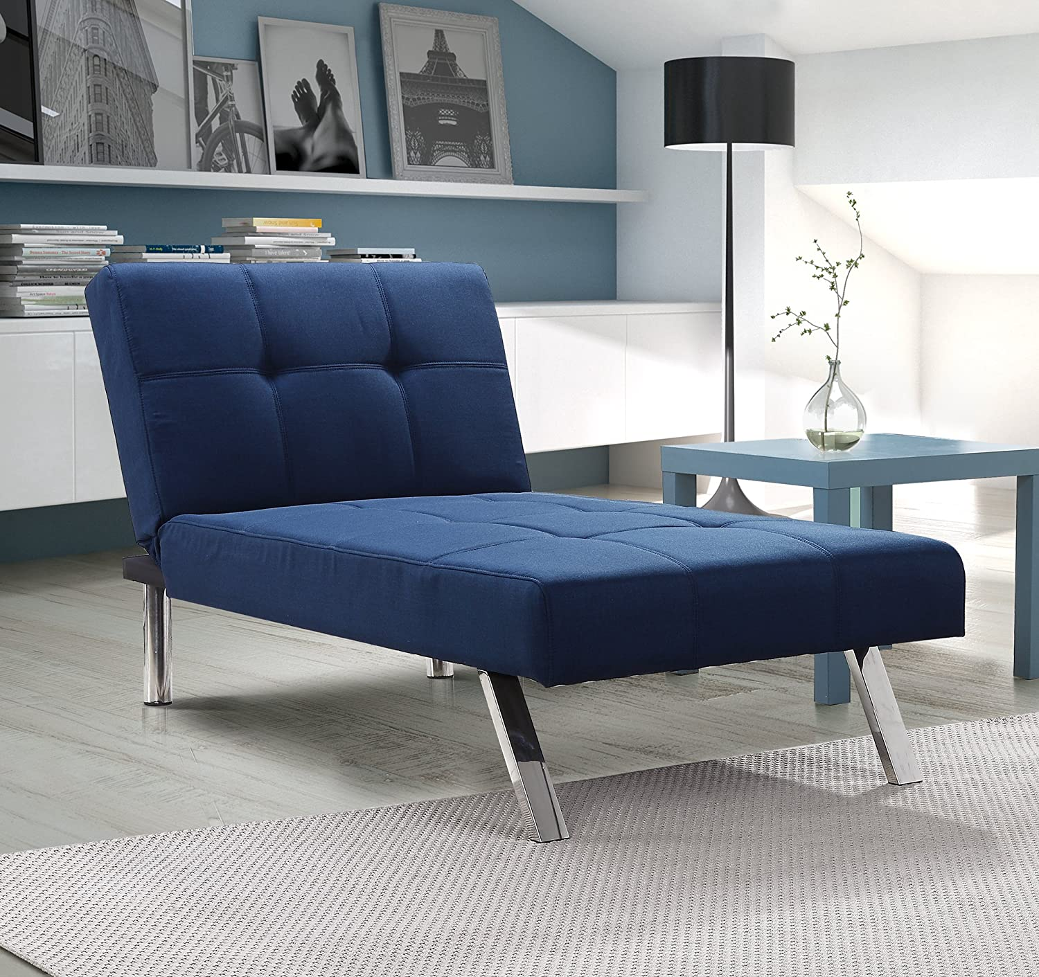Amazon.com Layton Chaise Lounge Sofa Sectional in Premium Linen Available in Navy and Tan with Slanted Chrome Legs (Chaise Navy) Kitchen u0026 Dining : navy sectional - Sectionals, Sofas & Couches