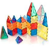 Safety Certified - Jolly Mags Magnetic Tiles Set - 3D Building Blocks Toy with Magnets for Kids - Best for Stacking - Clear Color 60 Pcs Set