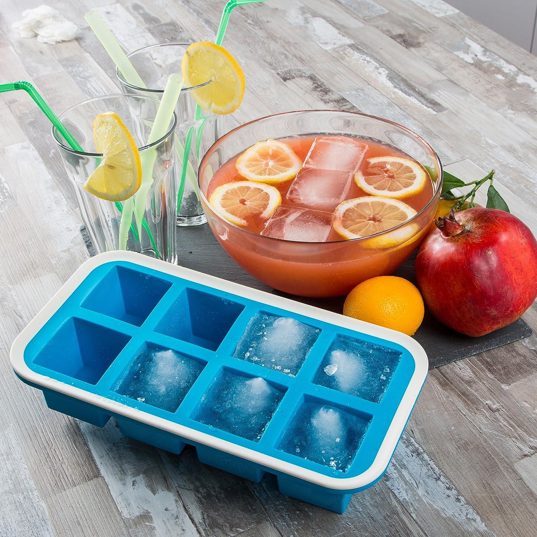 vaschetta stampo ghiaccio stampo silicone cubetti vaschetta semitrasparente cubetti vaschetta antiaderente cubetti ghiaccio Levivo Stampo silicone 8 cubetti di ghiaccio 5x5x5cm stampo cubetti