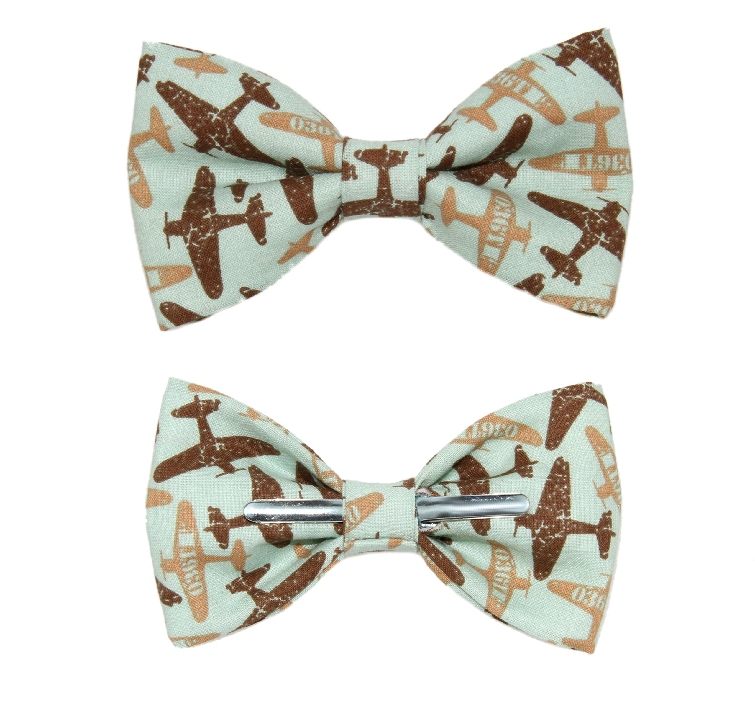 amy2004marie Men's Airplanes Clip On Cotton Bow Tie Bowtie