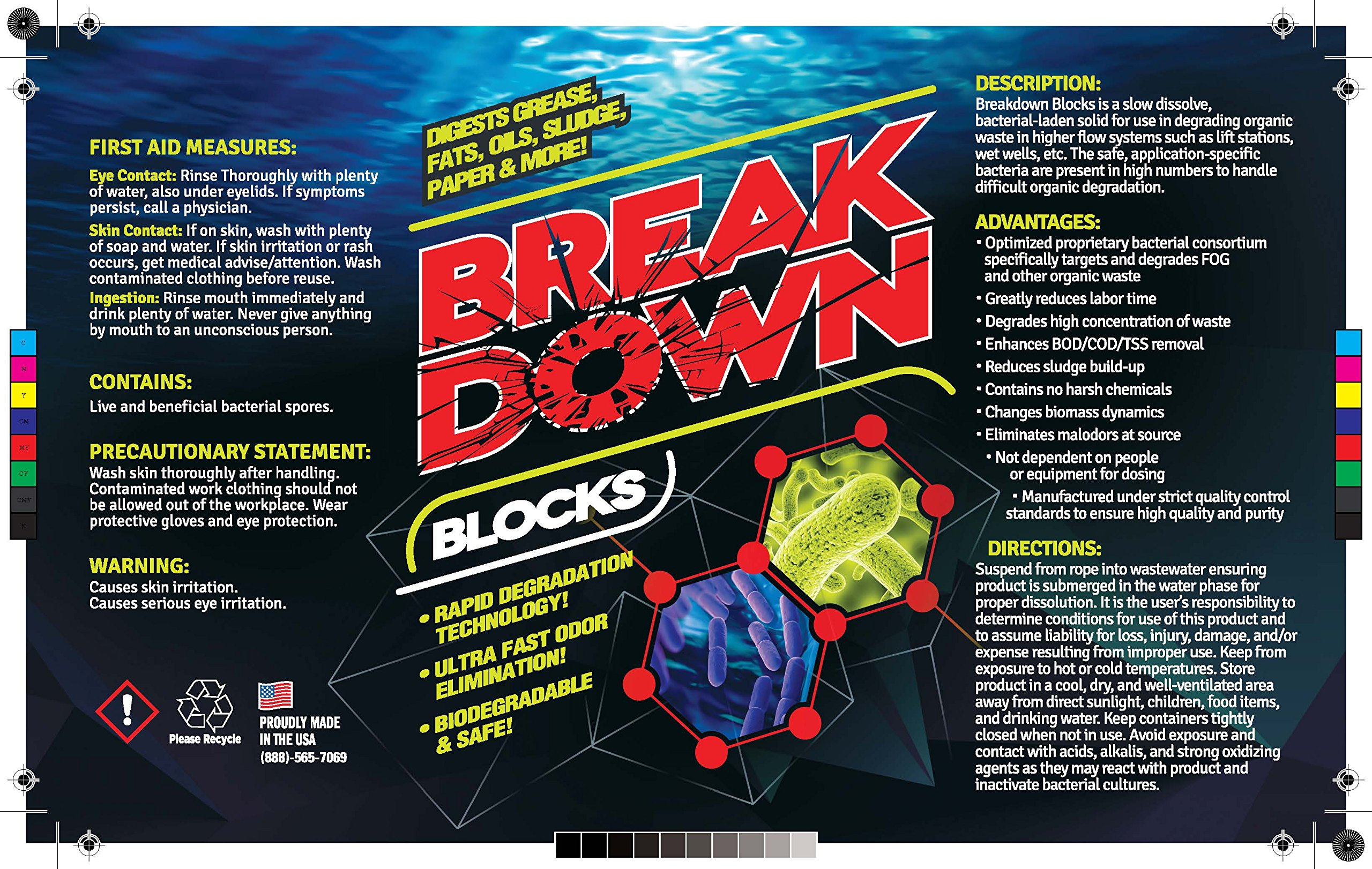 BREAK DOWN Bio Block Bacterial Enzyme Degestant for Grease Traps & Lift Station - 4 x 2 lb. Case by EcoClean Solutions (Image #4)