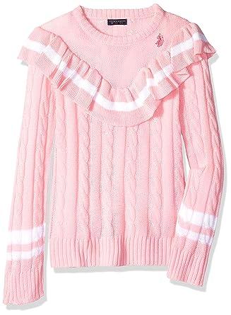 U.S. Polo Assn. Girls Toddler Pullover Sweater, Ruffle Cozy Yarn ...