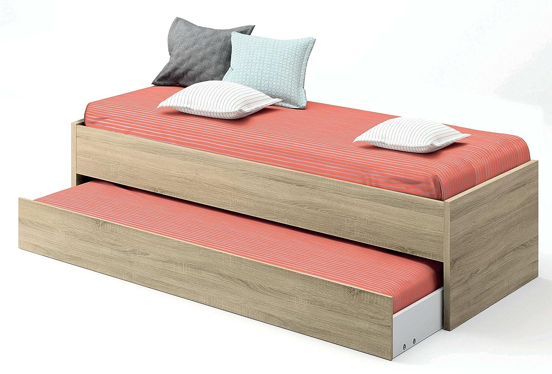 Abitti Cama Nido de Dormitorio Juvenil Color Cambrian, somier Inferior Incluido, para colchones de