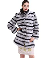 TOPFUR Women's Overcoat Chinchilla Rabbit Fur Coat With Stand Collar Outerwear