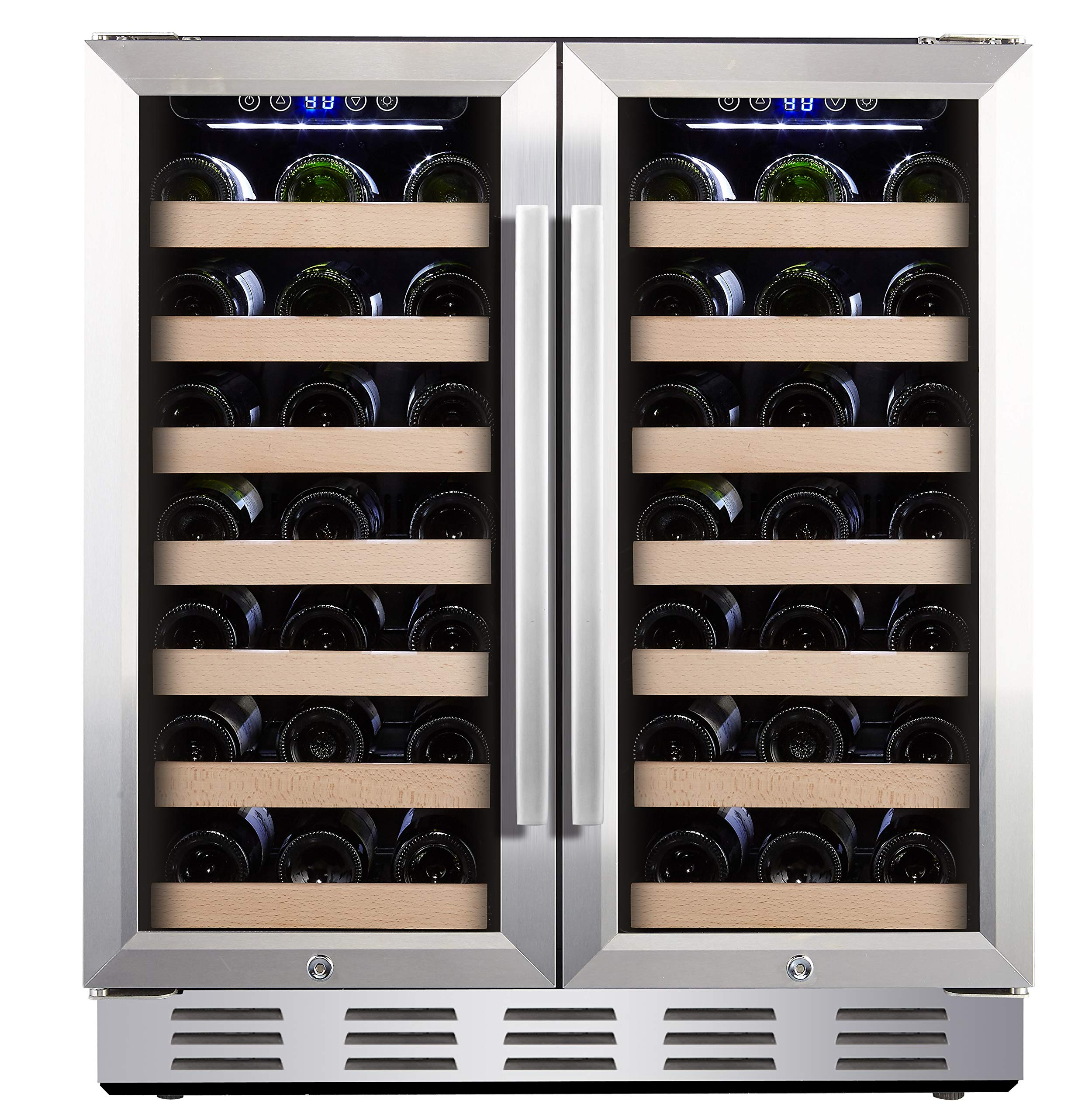Kalamera 30'' Wine Cooler 66 Bottle Dual Zone Built-in and Freestanding with Stainless Steel and Glass French-Door Style by Kalamera