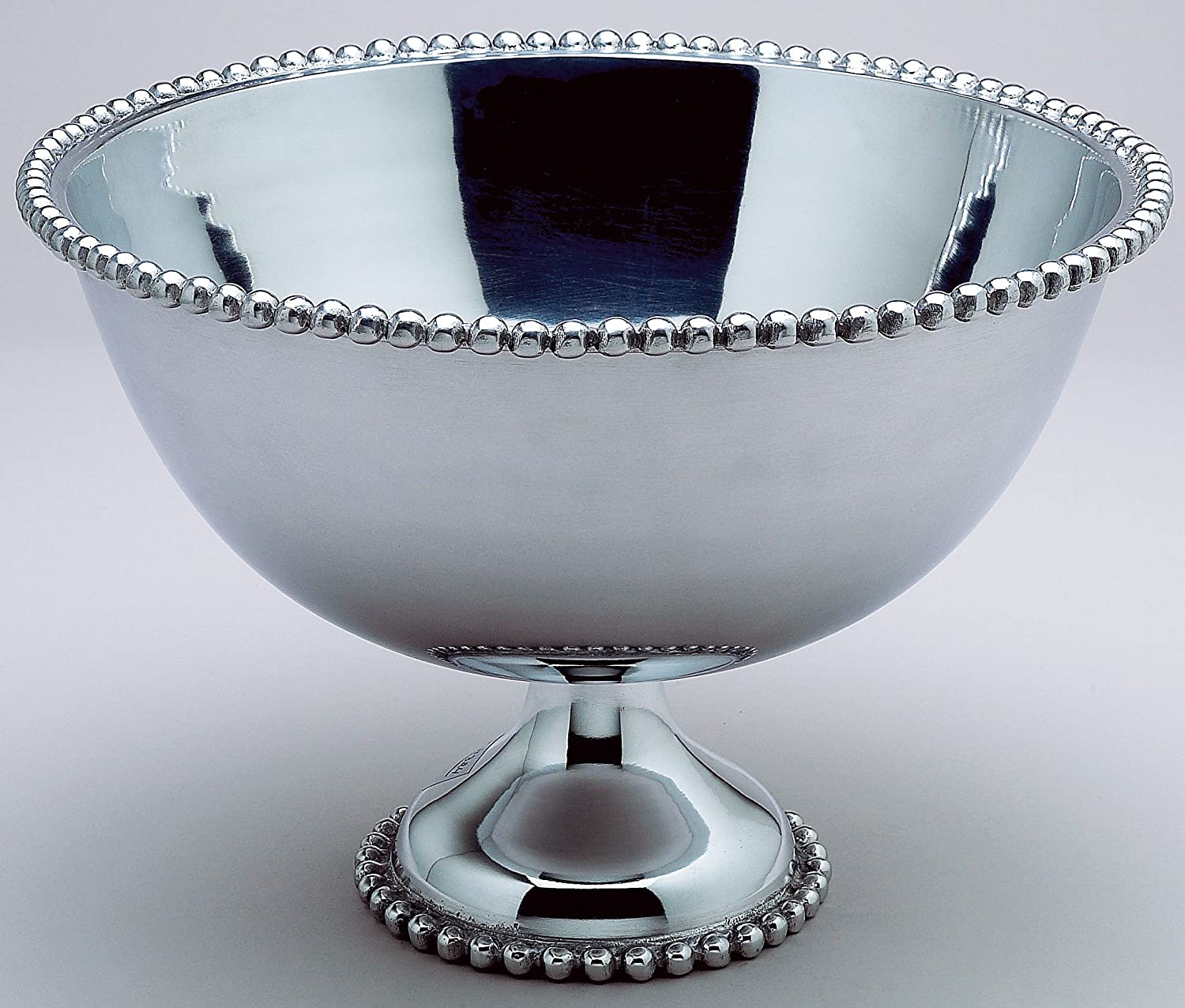 Amazon com kindwer huge beaded aluminum punch bowl 16 inch silver punch bowls