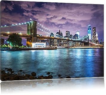 Skyline New York Bild Auf Leinwand, XXL Riesige Bilder Fertig Gerahmt Mit  Keilrahmen, Kunstdruck