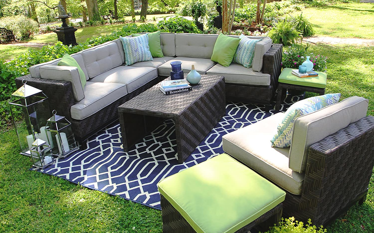 amazon com ae outdoor sec101110 7 piece canyon sectional with rh amazon com patio furniture cushions sunbrella fabric patio sets with sunbrella fabric