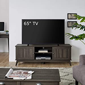 Newport Series Modern TV Media Console Stand Entertainment Center with Two Doors and Adjustable Storage Shelves   Sturdy and Wide  Easy Assembly  Smoke Oak Wood Look Accent Living Room Home Furniture