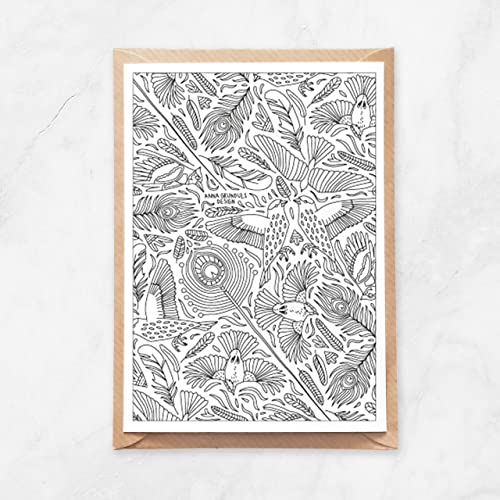 Boho Peacock Coloring Poster or Large Adult Coloring Page with Intricate Patterns of Birds Feathers