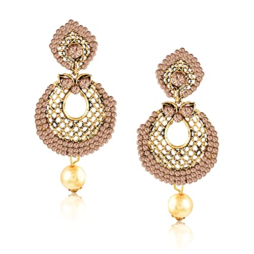 7749707544 Meenaz Fashion Jewellery Traditional Gold plated Pearl Crystal Earrings for women  party wear stylish designer Wedding