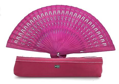 Zerimar fundas fabricadas en piel para abanicos u otros usos incluye bonito abanico Fundacolor rosa
