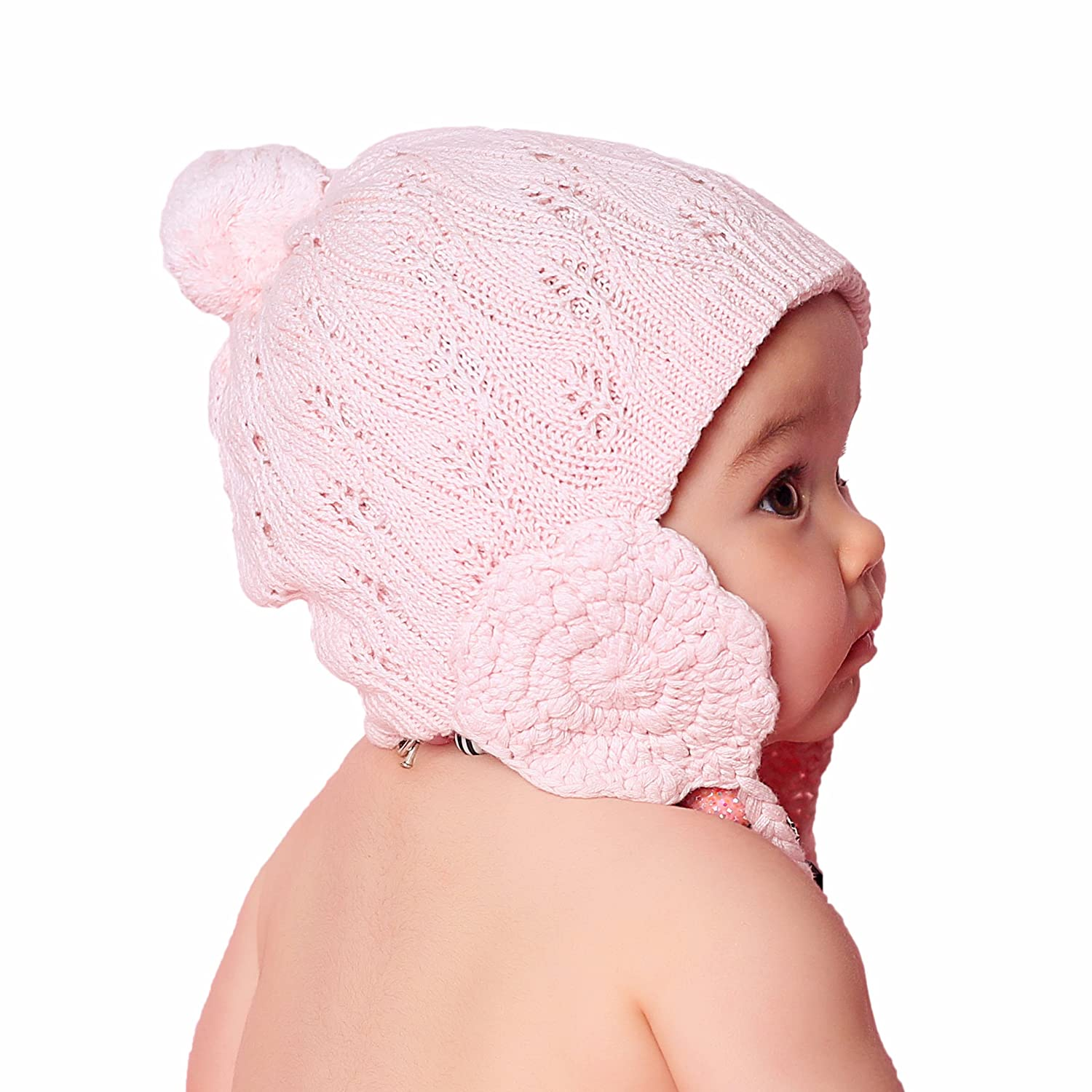 Huggalugs Baby and Toddler Girls Lacy Cotton Knit Beanie Hat in 2 Color Choices